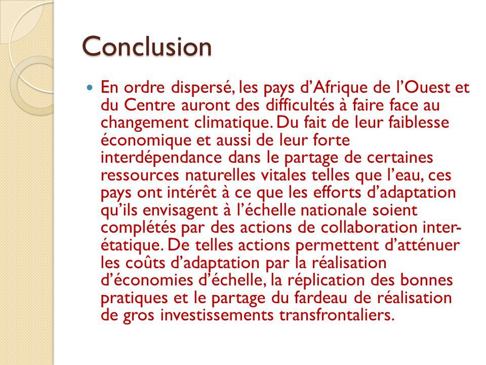Conclusion En ordre dispersé, les pays dAfrique de lOuest et du Centre auront des difficultés à faire face au changement climatique. Du fait de leur f
