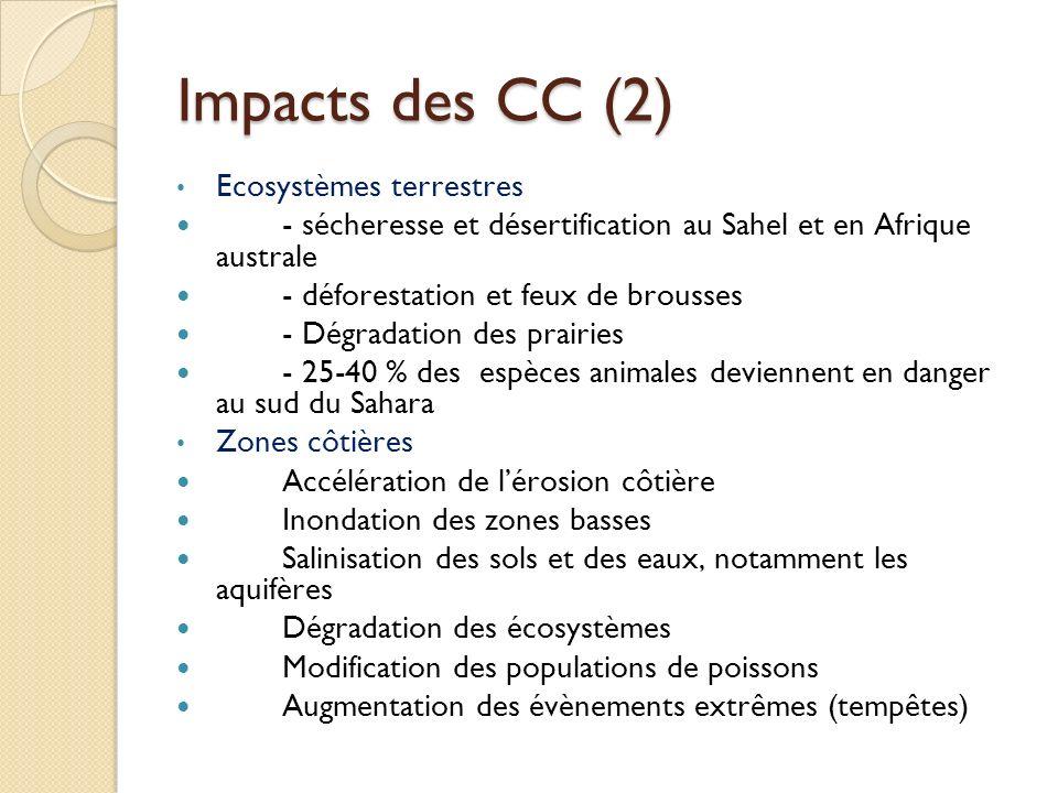 Impacts des CC (2) Ecosystèmes terrestres - sécheresse et désertification au Sahel et en Afrique australe - déforestation et feux de brousses - Dégrad