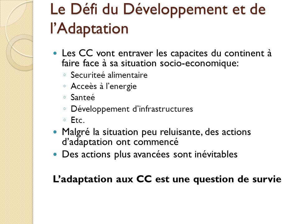 Le Défi du Développement et de lAdaptation Les CC vont entraver les capacites du continent à faire face à sa situation socio-economique: Securiteé ali