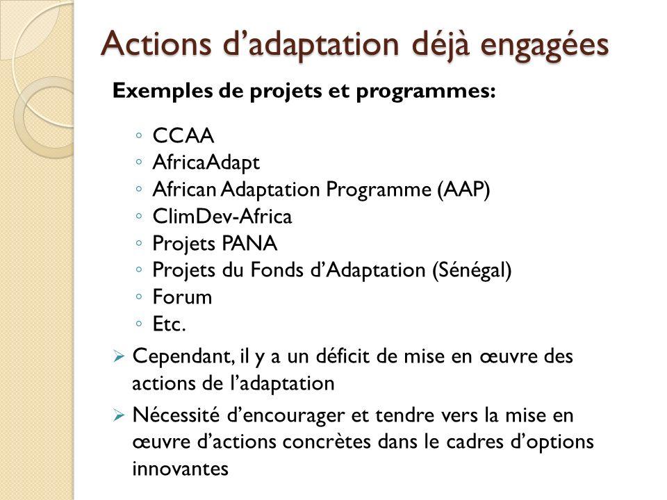 Actions dadaptation déjà engagées Exemples de projets et programmes: CCAA AfricaAdapt African Adaptation Programme (AAP) ClimDev-Africa Projets PANA P