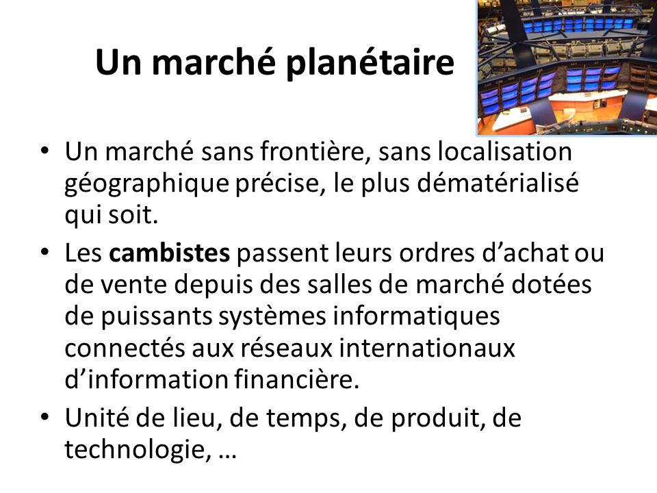 Un marché planétaire Un marché sans frontière, sans localisation géographique précise, le plus dématérialisé qui soit. Les cambistes passent leurs ord
