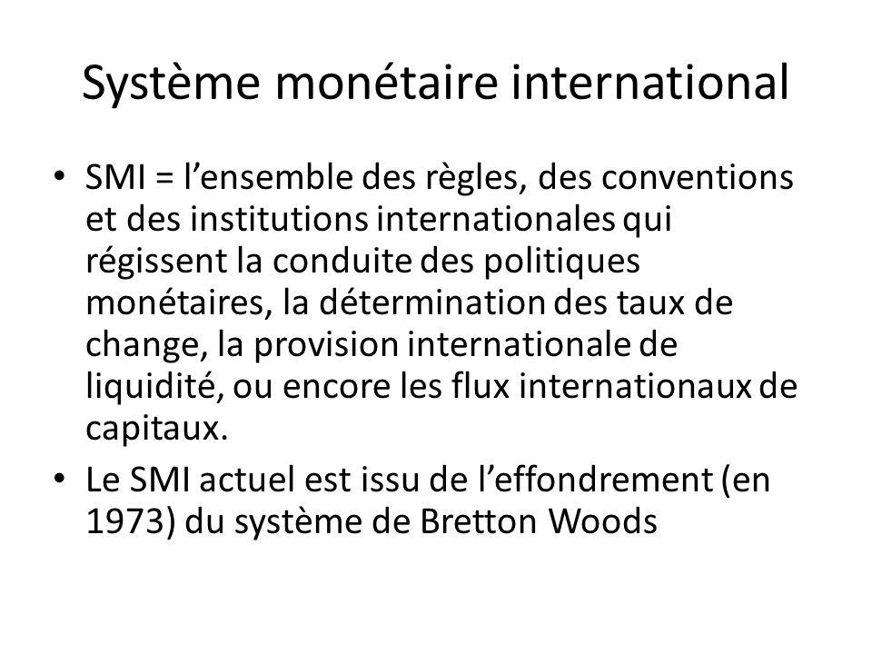 Système monétaire international SMI = lensemble des règles, des conventions et des institutions internationales qui régissent la conduite des politiqu