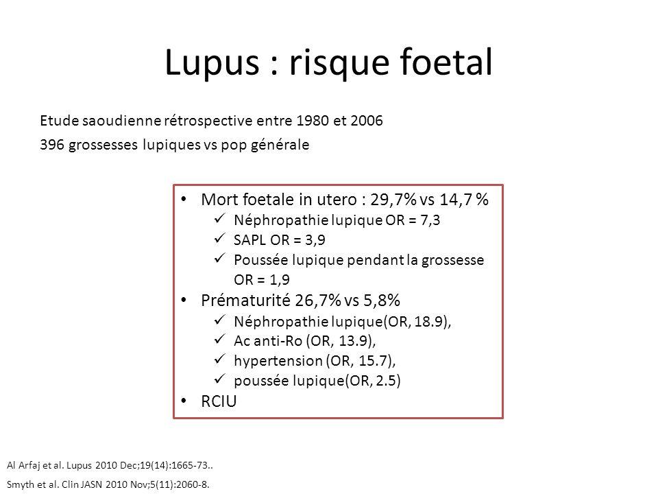 Lupus : risque foetal Etude saoudienne rétrospective entre 1980 et 2006 396 grossesses lupiques vs pop générale Al Arfaj et al. Lupus 2010 Dec;19(14):