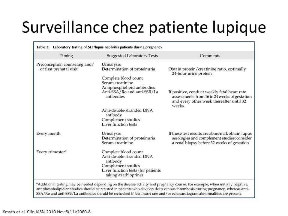Surveillance chez patiente lupique Smyth et al. Clin JASN 2010 Nov;5(11):2060-8.