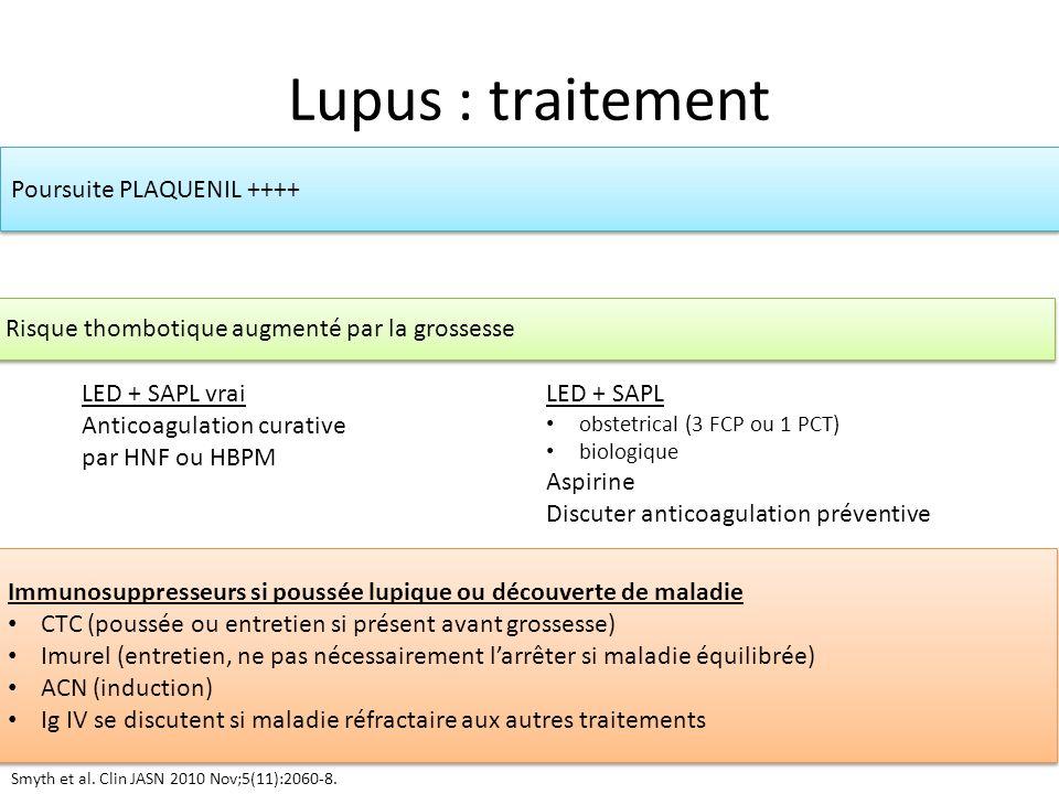Lupus : traitement LED + SAPL vrai Anticoagulation curative par HNF ou HBPM LED + SAPL obstetrical (3 FCP ou 1 PCT) biologique Aspirine Discuter antic
