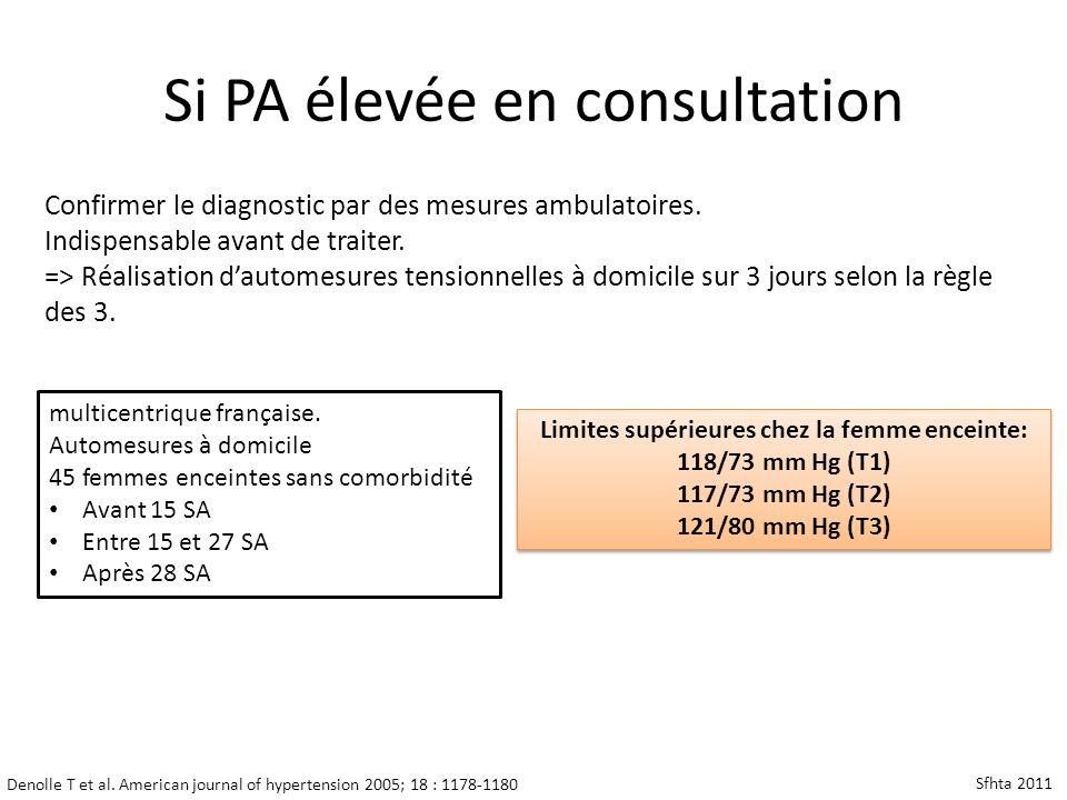 Denolle T et al. American journal of hypertension 2005; 18 : 1178-1180 Limites supérieures chez la femme enceinte: 118/73 mm Hg (T1) 117/73 mm Hg (T2)
