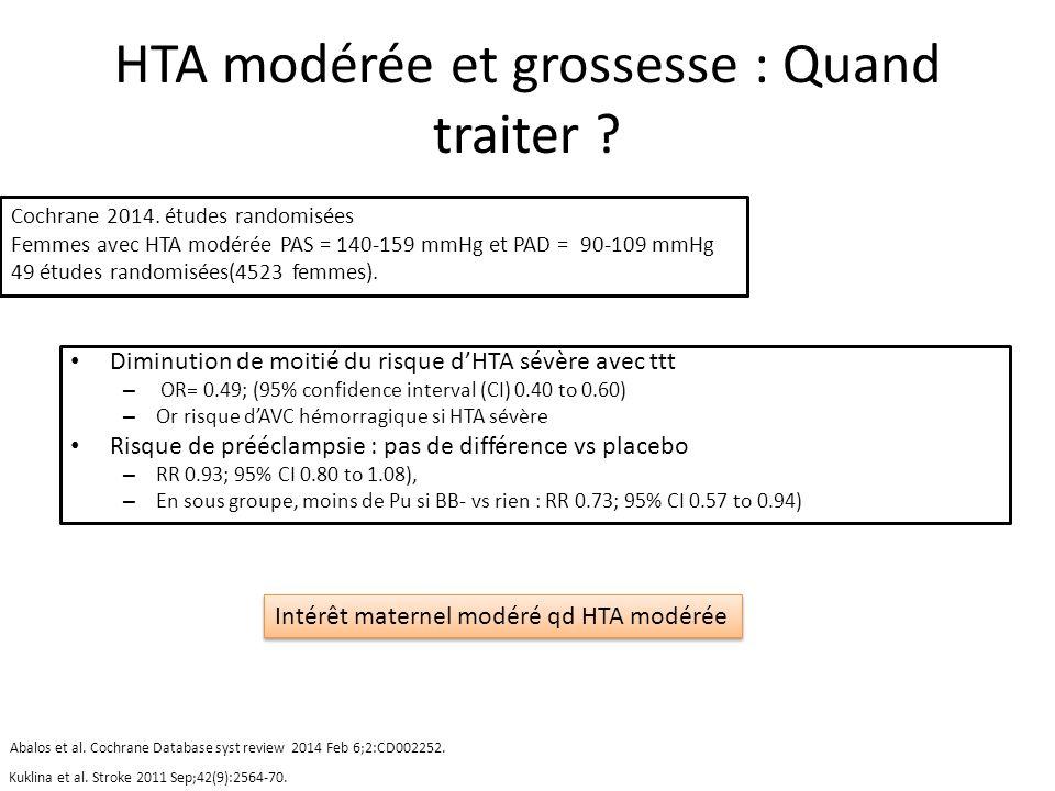 HTA modérée et grossesse : Quand traiter ? Diminution de moitié du risque dHTA sévère avec ttt – OR= 0.49; (95% confidence interval (CI) 0.40 to 0.60)