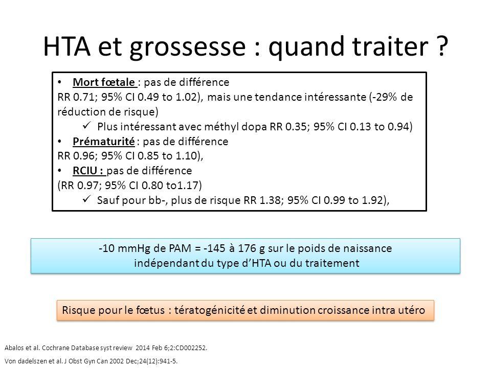 HTA et grossesse : quand traiter ? -10 mmHg de PAM = -145 à 176 g sur le poids de naissance indépendant du type dHTA ou du traitement -10 mmHg de PAM