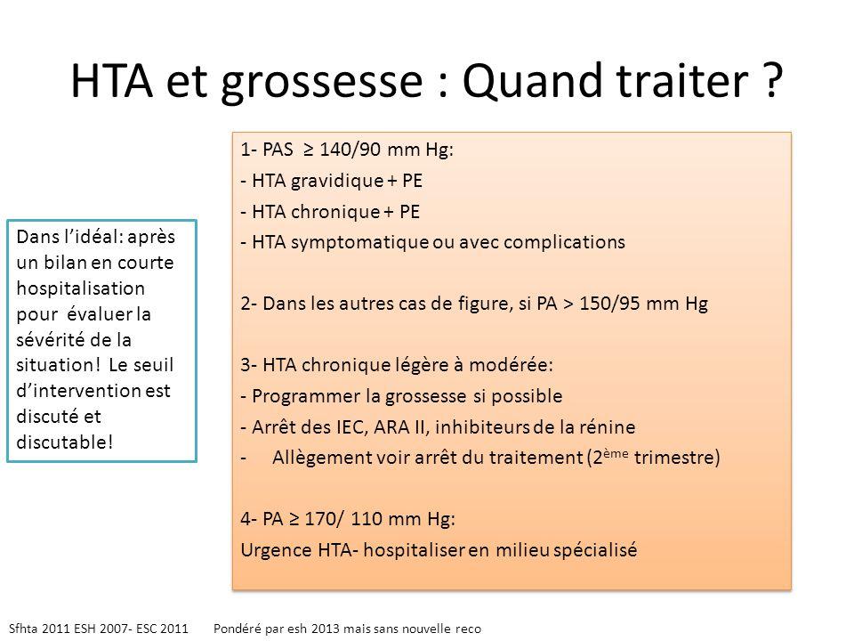 HTA et grossesse : Quand traiter ? 1- PAS 140/90 mm Hg: - HTA gravidique + PE - HTA chronique + PE - HTA symptomatique ou avec complications 2- Dans l