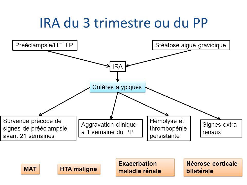 Prééclampsie/HELLP IRA Stéatose aigue gravidique Critères atypiques MAT HTA maligne Exacerbation maladie rénale Nécrose corticale bilatérale Survenue