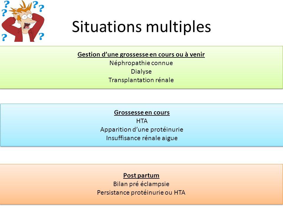 Situations multiples Grossesse en cours HTA Apparition dune protéinurie Insuffisance rénale aigue Grossesse en cours HTA Apparition dune protéinurie I