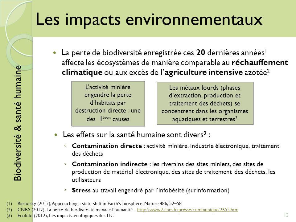 Les effets sur la santé humaine sont divers 3 : Contamination directe : activité minière, industrie électronique, traitement des déchets Contamination
