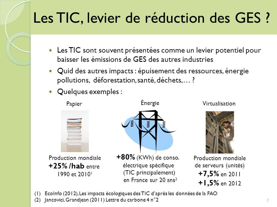 7 Les TIC, levier de réduction des GES ? Les TIC sont souvent présentées comme un levier potentiel pour baisser les émissions de GES des autres indust