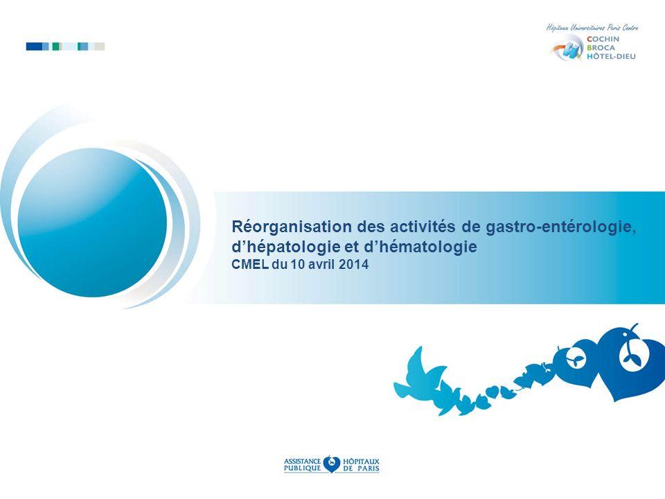 Réorganisation des activités de gastro-entérologie, dhépatologie et dhématologie CMEL du 10 avril 2014