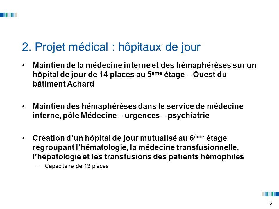 3 2. Projet médical : hôpitaux de jour Maintien de la médecine interne et des hémaphérèses sur un hôpital de jour de 14 places au 5 ème étage – Ouest