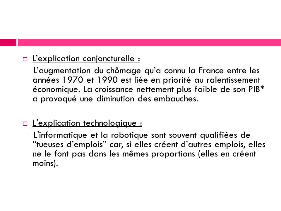 Lexplication conjoncturelle : Laugmentation du chômage qua connu la France entre les années 1970 et 1990 est liée en priorité au ralentissement économique.