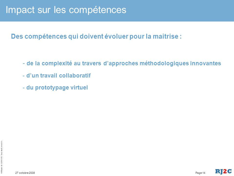 © Mairie de LEUCATE. Tous droits reservés. 27 octobre 2008 Impact sur les compétences Page 13 Des compétences qui doivent évoluer vers la maitrise : -