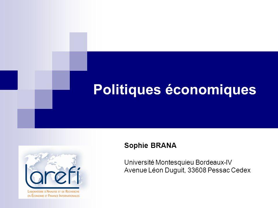 b) Les déterminants de la soutenabilité de la dette publique Une politique budgétaire est dite soutenable si elle satisfait la contrainte budgétaire intertemporelle.