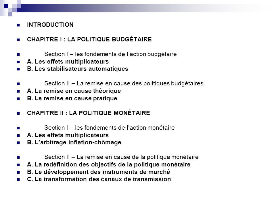 INTRODUCTION CHAPITRE I : LA POLITIQUE BUDGÉTAIRE Section I – les fondements de laction budgétaire A. Les effets multiplicateurs B. Les stabilisateurs