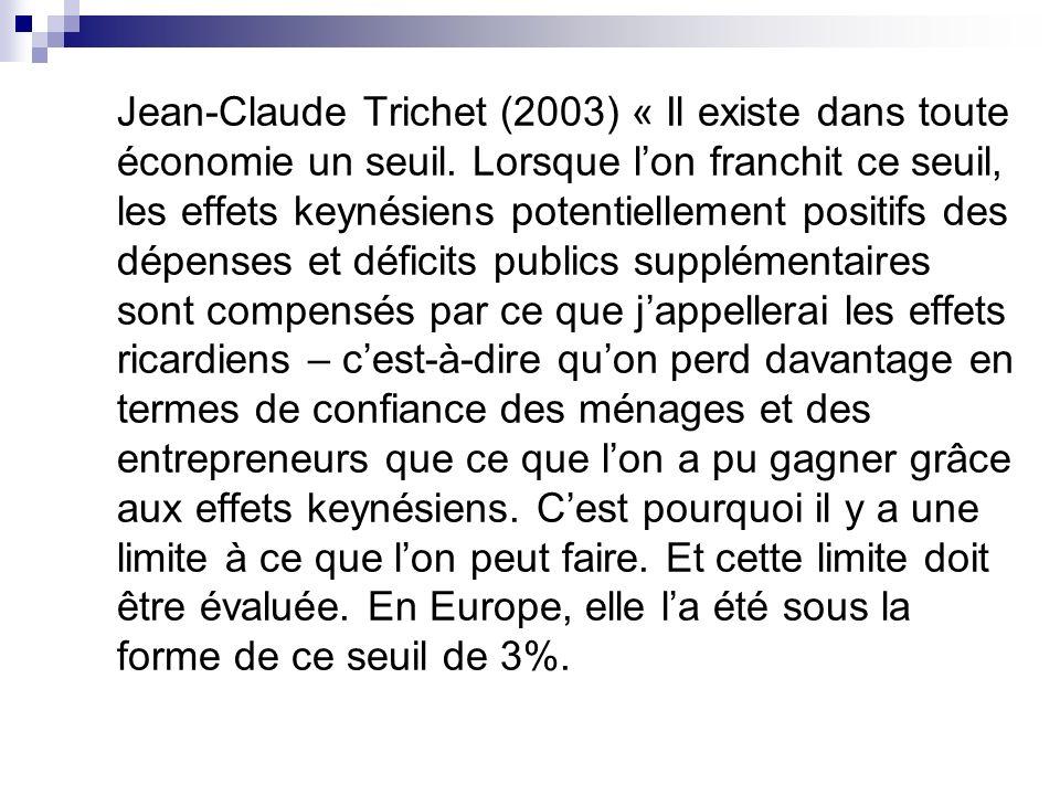 Jean-Claude Trichet (2003) « Il existe dans toute économie un seuil. Lorsque lon franchit ce seuil, les effets keynésiens potentiellement positifs des