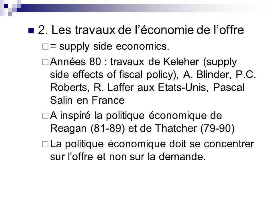 2. Les travaux de léconomie de loffre = supply side economics. Années 80 : travaux de Keleher (supply side effects of fiscal policy), A. Blinder, P.C.