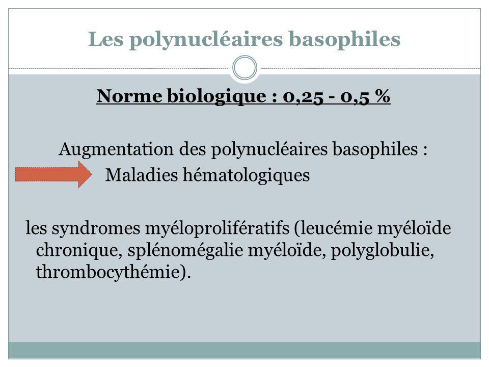 Les polynucléaires basophiles Norme biologique : 0,25 - 0,5 % Augmentation des polynucléaires basophiles : Maladies hématologiques les syndromes myélo