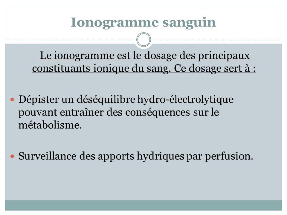 Ionogramme sanguin Le ionogramme est le dosage des principaux constituants ionique du sang. Ce dosage sert à : Dépister un déséquilibre hydro-électrol
