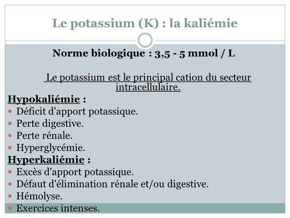 Le potassium (K) : la kaliémie Norme biologique : 3,5 - 5 mmol / L Le potassium est le principal cation du secteur intracellulaire. Hypokaliémie : Déf