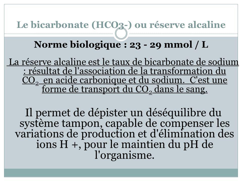Le bicarbonate (HCO3-) ou réserve alcaline Norme biologique : 23 - 29 mmol / L La réserve alcaline est le taux de bicarbonate de sodium : résultat de