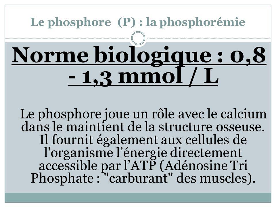 Le phosphore (P) : la phosphorémie Norme biologique : 0,8 - 1,3 mmol / L Le phosphore joue un rôle avec le calcium dans le maintient de la structure o