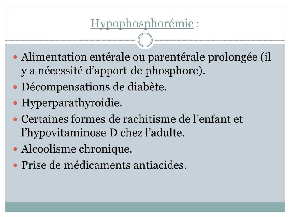 Hypophosphorémie : Alimentation entérale ou parentérale prolongée (il y a nécessité dapport de phosphore). Décompensations de diabète. Hyperparathyroi