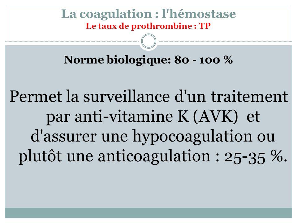 La coagulation : l'hémostase Le taux de prothrombine : TP Norme biologique: 80 - 100 % Permet la surveillance d'un traitement par anti-vitamine K (AVK