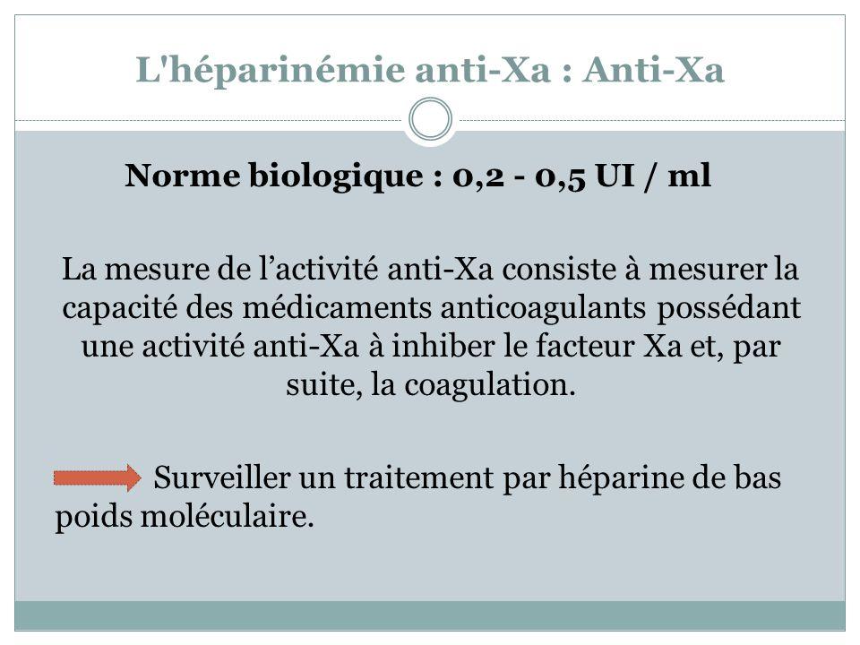 L'héparinémie anti-Xa : Anti-Xa Norme biologique : 0,2 - 0,5 UI / ml La mesure de lactivité anti-Xa consiste à mesurer la capacité des médicaments ant