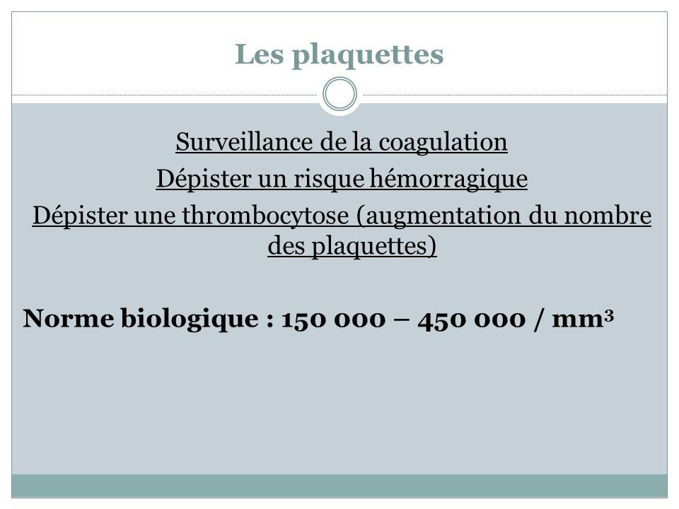 Les plaquettes Surveillance de la coagulation Dépister un risque hémorragique Dépister une thrombocytose (augmentation du nombre des plaquettes) Norme