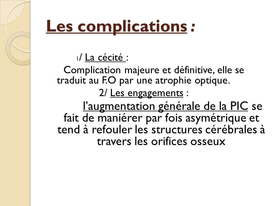 Les complications : 1 / La cécité : Complication majeure et définitive, elle se traduit au F.O par une atrophie optique. 2/ Les engagements : laugment
