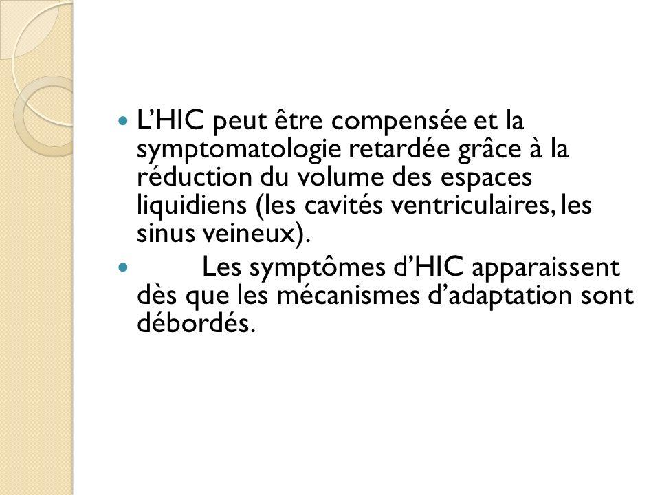 LHIC peut être compensée et la symptomatologie retardée grâce à la réduction du volume des espaces liquidiens (les cavités ventriculaires, les sinus v