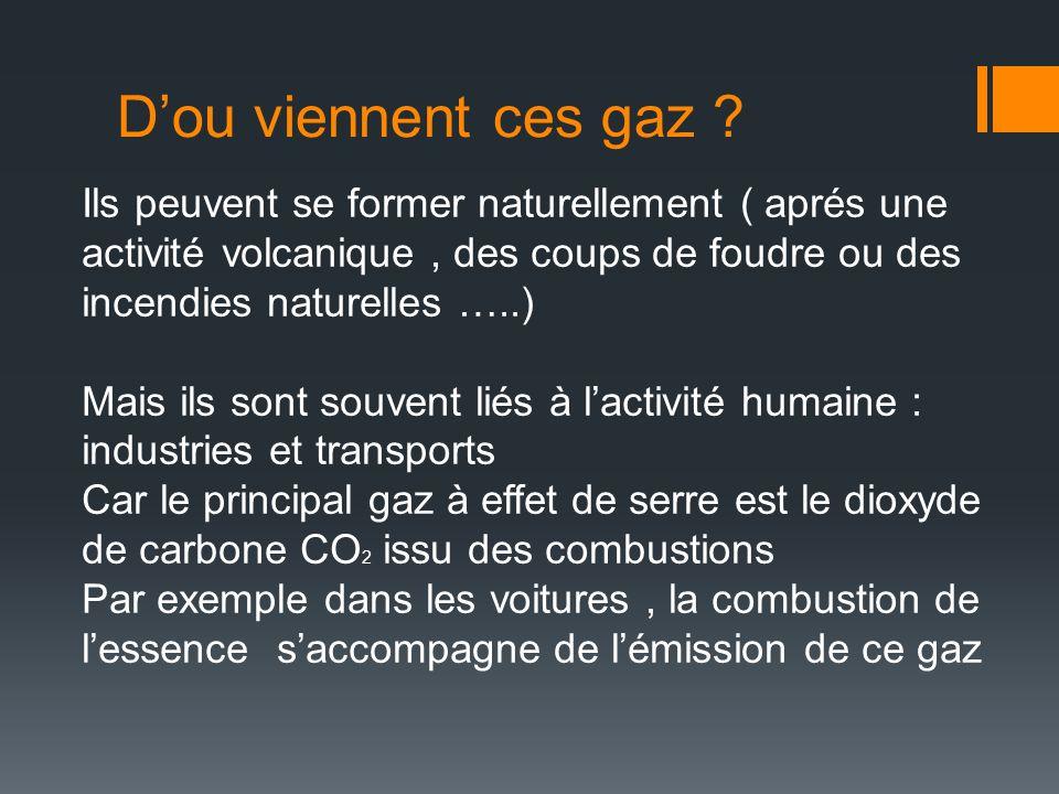 Dou viennent ces gaz ? Ils peuvent se former naturellement ( aprés une activité volcanique, des coups de foudre ou des incendies naturelles …..) Mais