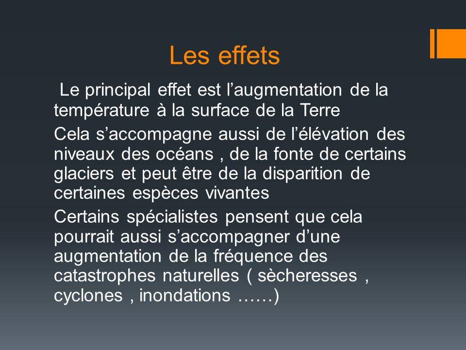 Les effets Le principal effet est laugmentation de la température à la surface de la Terre Cela saccompagne aussi de lélévation des niveaux des océans