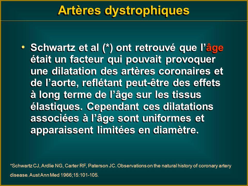 Schwartz et al (*) ont retrouvé que lâge était un facteur qui pouvait provoquer une dilatation des artères coronaires et de laorte, reflétant peut-êtr