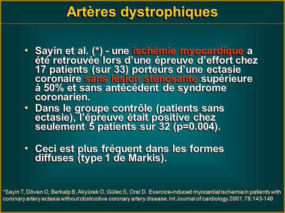 Artères dystrophiques Sayin et al. (*) - une ischémie myocardique a été retrouvée lors dune épreuve deffort chez 17 patients (sur 33) porteurs dune ec