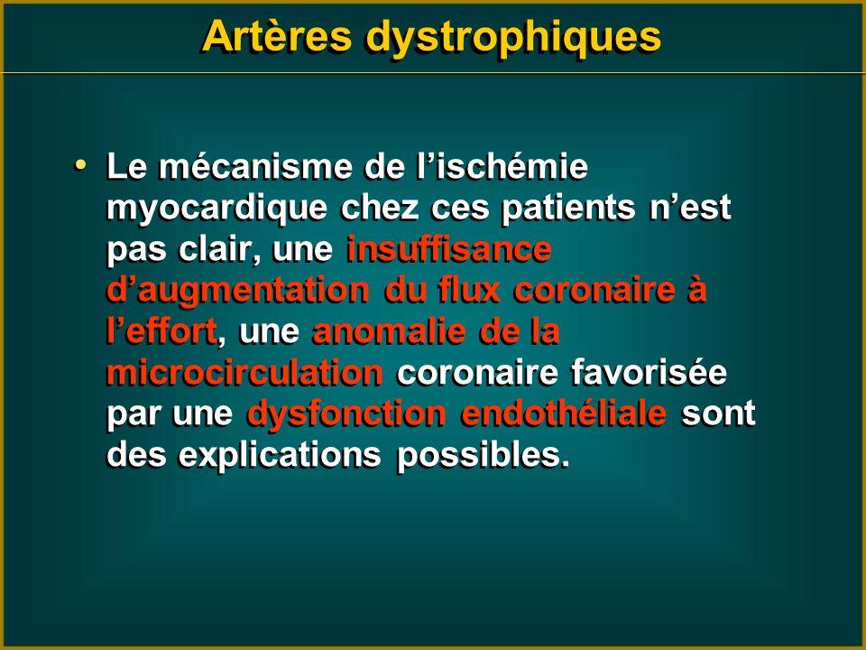 Artères dystrophiques Le mécanisme de lischémie myocardique chez ces patients nest pas clair, une insuffisance daugmentation du flux coronaire à leffo