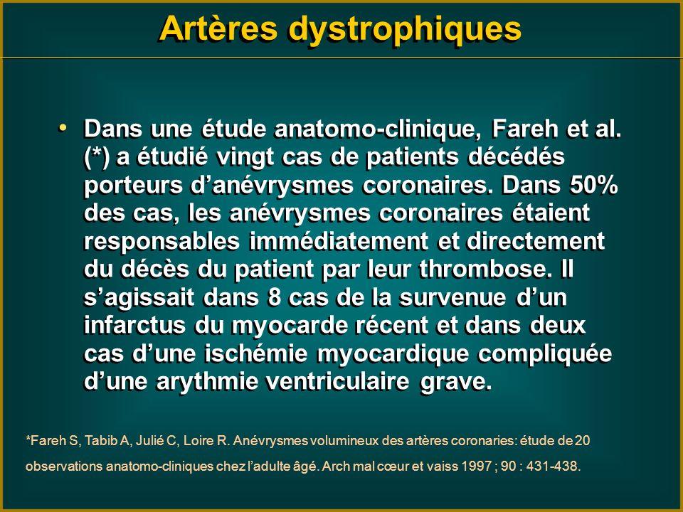 Artères dystrophiques Dans une étude anatomo-clinique, Fareh et al. (*) a étudié vingt cas de patients décédés porteurs danévrysmes coronaires. Dans 5