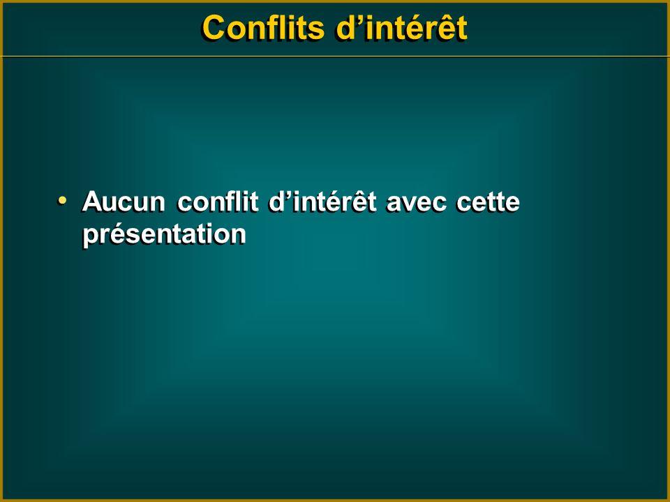 Conflits dintérêt Aucun conflit dintérêt avec cette présentation