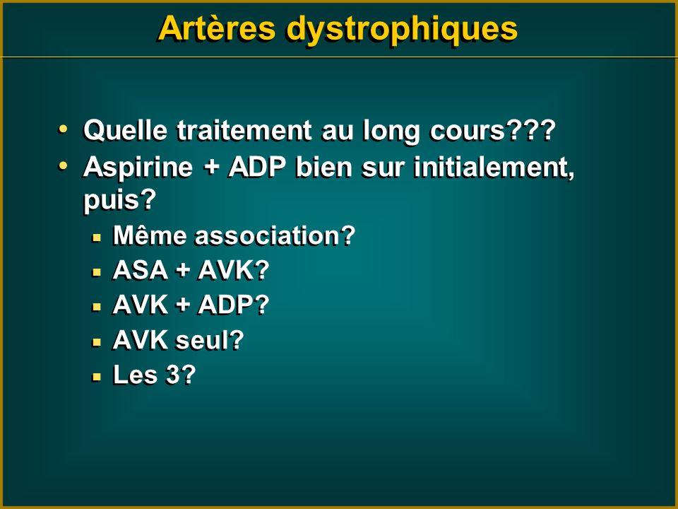 Quelle traitement au long cours??? Aspirine + ADP bien sur initialement, puis? Même association? ASA + AVK? AVK + ADP? AVK seul? Les 3? Quelle traitem
