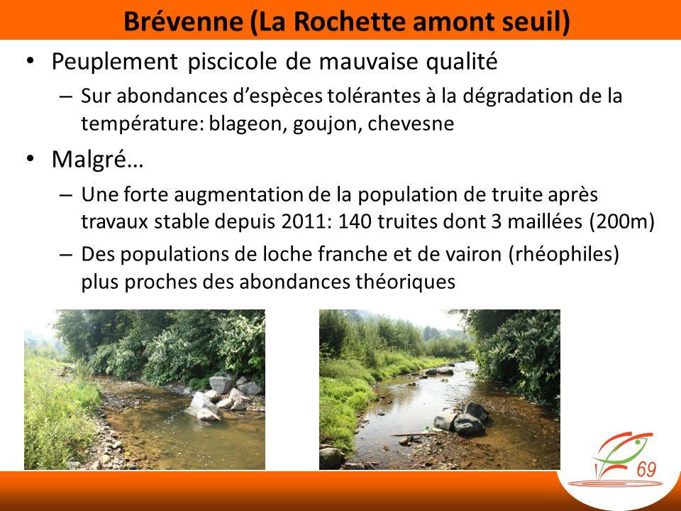 Brévenne (La Rochette amont seuil) Peuplement piscicole de mauvaise qualité – Sur abondances despèces tolérantes à la dégradation de la température: b
