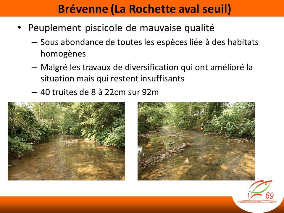 Brévenne (La Rochette aval seuil) Peuplement piscicole de mauvaise qualité – Sous abondance de toutes les espèces liée à des habitats homogènes – Malg