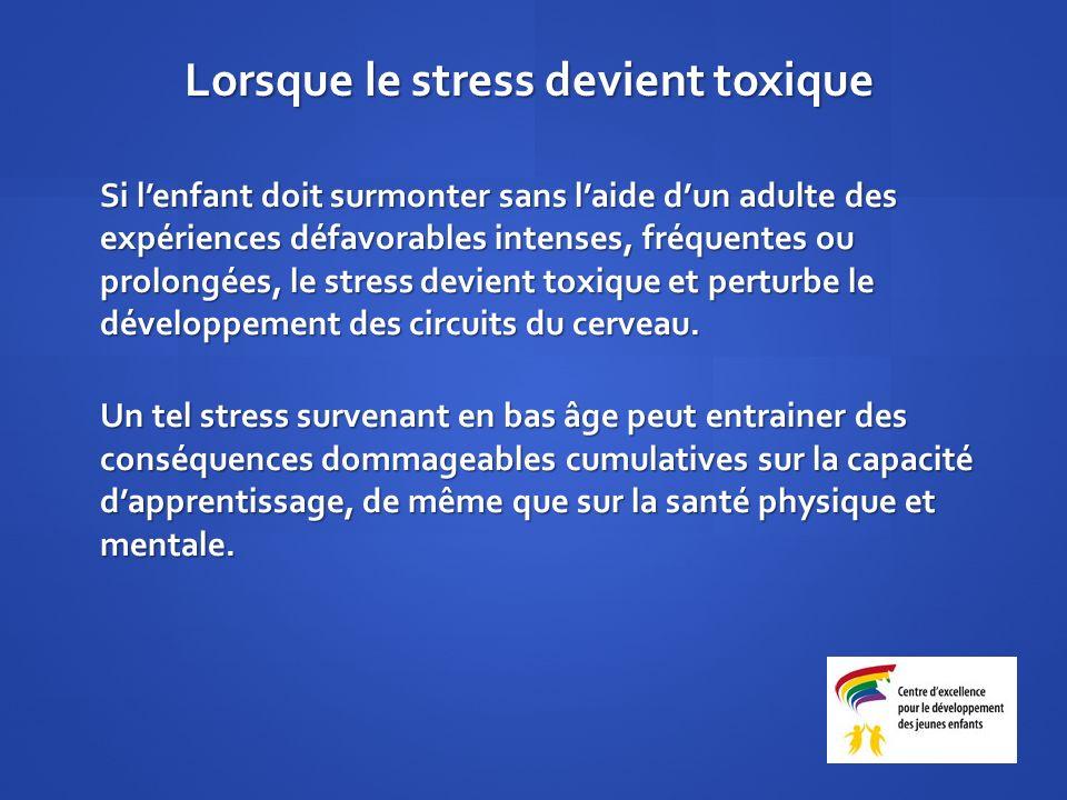 Si lenfant doit surmonter sans laide dun adulte des expériences défavorables intenses, fréquentes ou prolongées, le stress devient toxique et perturbe le développement des circuits du cerveau.