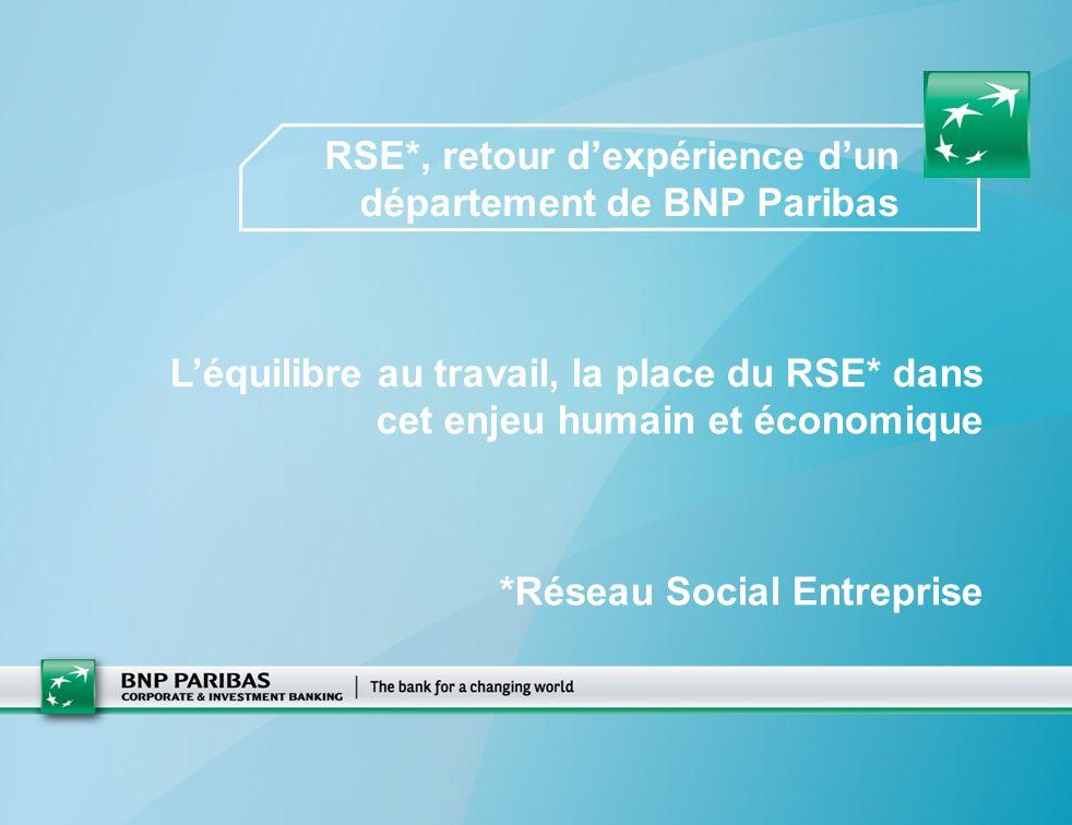RSE*, retour dexpérience dun département de BNP Paribas Léquilibre au travail, la place du RSE* dans cet enjeu humain et économique *Réseau Social Entreprise