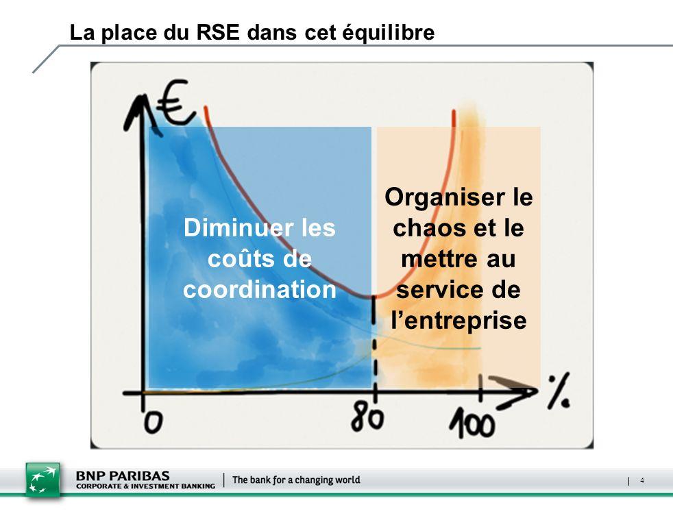 La place du RSE dans cet équilibre Diminuer les coûts de coordination Organiser le chaos et le mettre au service de lentreprise 4