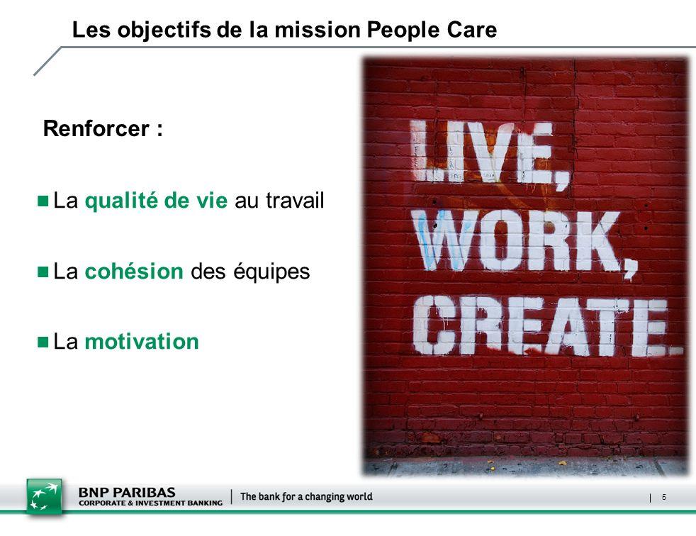 5 Les objectifs de la mission People Care Renforcer : La qualité de vie au travail La cohésion des équipes La motivation